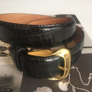 Brighton NWT Black & Gold embossed leather belt